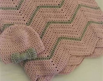 Pink and Gray Baby Blanket and Hat