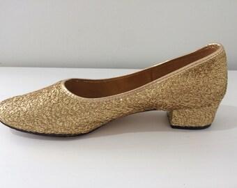 1960s gold mesh heels