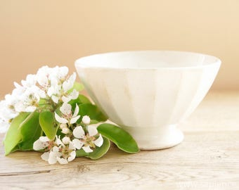 Sweet decorative little french antique white ironstone Cafe au lait bowl