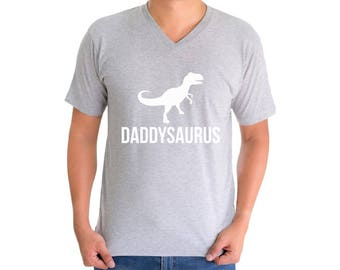 Daddysaurus V-neck T shirt Tops Shirt Fathers Day Cool Gift Dinosaur Rex Daddy Saur Gift for Dad