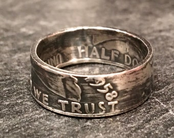 Franklin Half Dollar Ring - 90% Silver (Heads Out)
