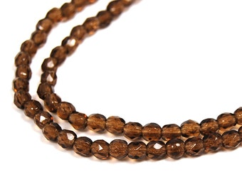 100/pc Smoky Topaz Czech 4mm Fire-polished Faceted Round Beads