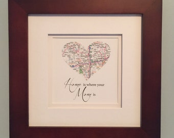 Map heart frame  Etsy