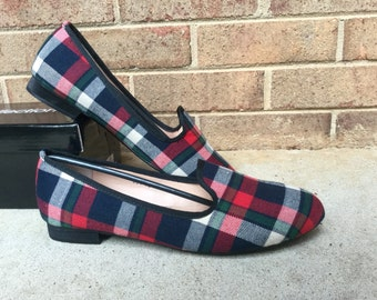 Ladies Red Plaid slippers Loafer Shoes