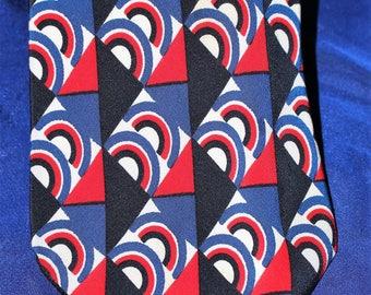 "Vintage PIERRE CARDIN Rainbow Geometric Print Silk Tie Made in France Paris-Red White Blue Black Necktie 4"" Wide"