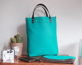 In calf-Taurillon Turquoise Tote Bag
