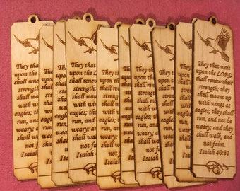 10 Unfinished Wood Bookmark - Isaiah 40:31