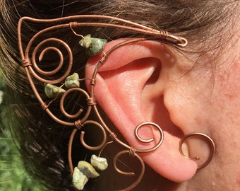 Elven Pixie Ear Cuff Pair with Rhyolite Crystals