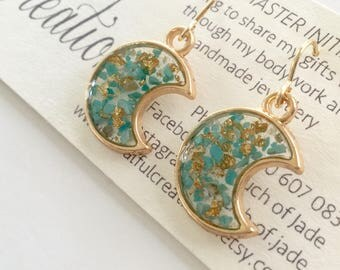 Moon Turquoise and Gold Leaf Earrings