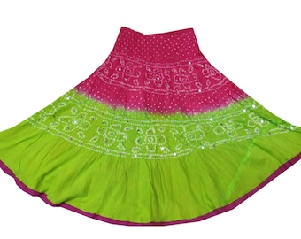 NEW Green and Pink Tie & Dye Rajasthani Gypsy Indian Skirt Bandini Maxi skirt