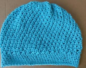 """The """"LoLo"""" Criss Cross Crochet Blue Slouchy Hat"""