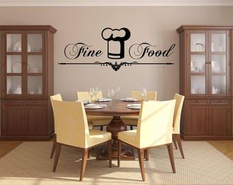 Fine Food Kitchen Vinyl Wall Quote