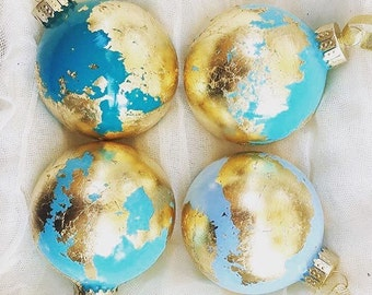 Christmas Gold Leaf Globe Ornament, Gilded Glass Earth Ornament, Christmas Around the World, Travel Decoration