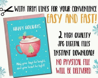 Mug Christmas printable card, Set 2 5x7 Christmas printable card, Instant download printable christmas card, digital download holiday card