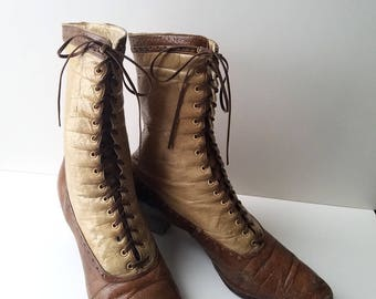 two tone calf skin edwardian boots model boot company size 5.5 narrow