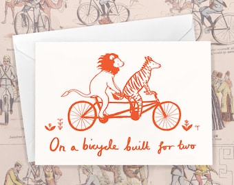 On A Bicycle Built For Two  - Animals on Bikes Valentine's Day Greeting Card