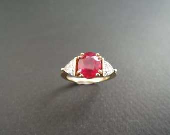 Ruby and diamonds ring, yellow gold, Engagement Ring.