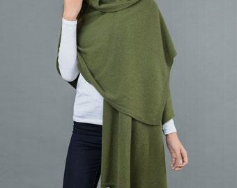 Cashmere Wrap Scarf Shawl Travelwrap Super Soft 2ply Knitted Oversize Luxury LODEN GREEN - Made in Italy