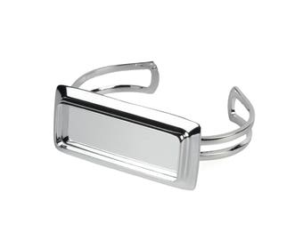 Cuff Bangle with Rectangle 16x44mm Inset Frame Silver Plated