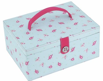 Button It Large Sewing Box In Duck Egg Floral LC82374