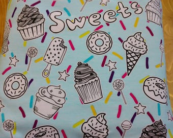 Rockerbye Destash Sweet Treats Aqua Knit Jersey Fabric