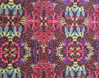 1 yard Multi Color Feather Print Nylon Spandex/Lycra Fabric