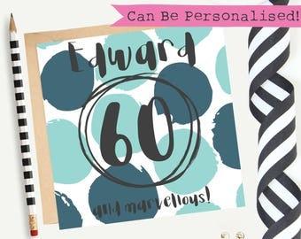 60th Birthday Card/Male/Personalised/Greeting Card/Blank/Keepsake