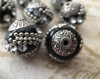 Qty4 15mm Indonesian Beads, Handmade Beads, Black