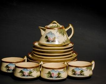 Antique Satsuma Tea Cup Saucer dessert plate milk jug Japan Meiji period 1868-1912