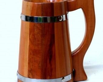 Wooden Beer Mug 0.7l (23oz). Gift for men Gift for boyfriend Groomsmen Gift natural wood handmade wedding gift beer tankard stein Wooden mug