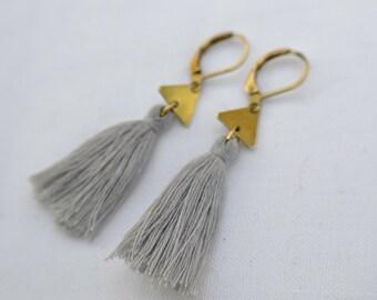 Brass earrings triangle / earrings triangle with tassel