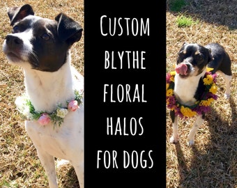 Custom BLYTHE Floral Halo for DOGS // Dog Flower Collar, Dog Wedding Collar, Dog Flower Crown, Dog Wedding Accessory, Dog Wedding Attire