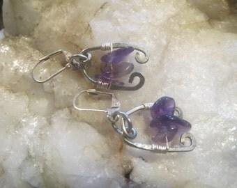 Amethyst Silver wire Earrings