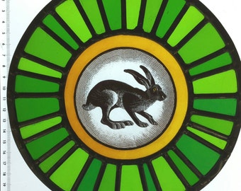 Unique hand painted and  stained traditional leaded glass Hare roundel made with hand made glass. Leaded, soldered,cemented and polished.