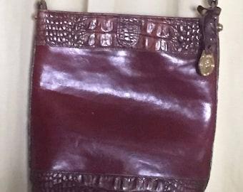 Brahmin Brown Croco & Black Leather Crossbody Handbag Small Bag Hardware: gold toned