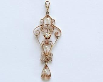 14k Antique American Delicate Diamond Seed Pearl Pendant. Circa 1910 - 1920