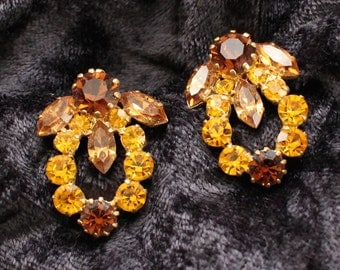 Vintage Gold Tone Clip On Earrings with Gold and Amber Crystals in a Wreath Shape Marked Austria ACE # 105