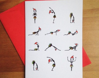 Yoga Christmas Greetings card - Sun Salutation - Surya Namaskara - Asana - Fun Yoga Postures