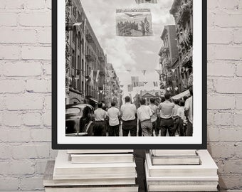 New York City photo, Mott Bleeker Street Little Italy Parade Honoring Neighborhood Army Boys, NYC, Wall Decor, Home Decor, black white print
