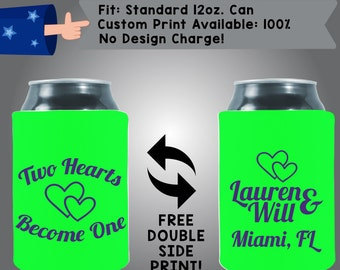 Two Hearts Become One Names City State Collapsible Fabric Wedding Cooler Double Side Print (W132)
