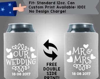 Our Wedding Date Mr Mrs Hearts White and Grey Collapsible Fabric Wedding Can Coolers Cheap Can Coolers Wedding Favors (W296)