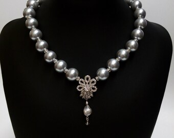 Bridal Necklace, Wedding Pearl Necklace, Pendant Necklace, Rhinestone Necklace. SCARLETT