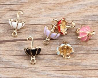 Umbrella Charms, 10PCS, 11*19mm, Enamel Charm,Weather Charms,Rain Charm, Diy Jewelry Accessories
