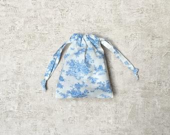 smallbags en tissu français vintage bleu-ciel et blanc - sacs coton type drap
