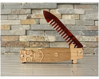 Sugar Skull Switchblade Folding Wood Comb, Fishnet Stocking Design, Wood and Acrylic