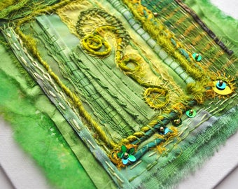 Apple Green & Golden Yellow Textile Collage on canvas board