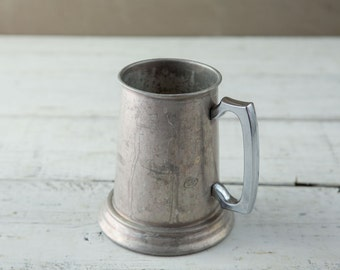 Tarnished Metal Beer Stein with Glass Bottom-Food Photography Props