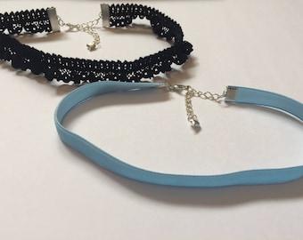 Set of Two chokers, Gift for Her, Heart Choker Set, Sky Blue Choker, Stacking Chokers, Black Lace Choker, Necklace, Unique Choker Necklace
