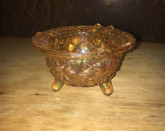 Footed Carnival Glass Bowl