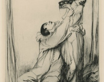 """ALBERT EDWARD STERNER (American, 1863-1946), """"The Unmasking"""", ca. 1920, drypoint, pencil signed"""